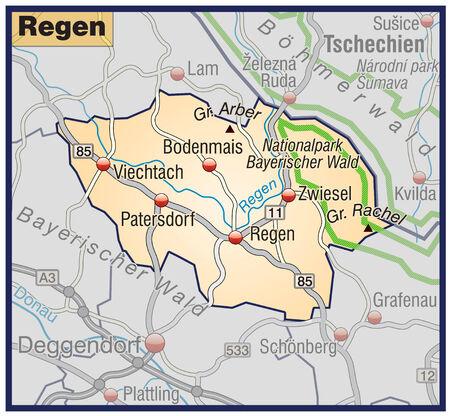 orange county: Map of regen with highways in pastel orange