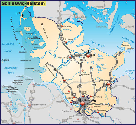 Map of Schleswig-Holstein with highways in pastel orange