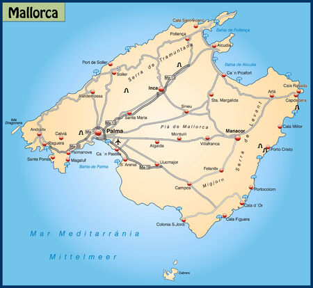 Map of mallorca with highways in pastel orange Vector