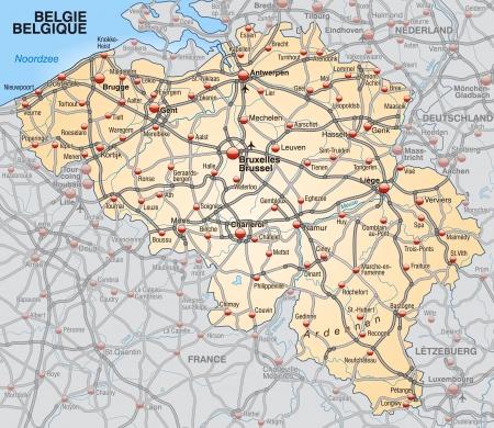 Kaart van België met de snelwegen in pastel oranje Vector Illustratie