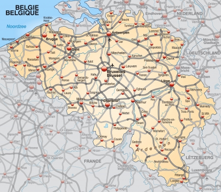 Map of belgium with highways in pastel orange Vector