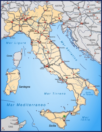 geographically: Map of Italy with highways in pastel orange Illustration