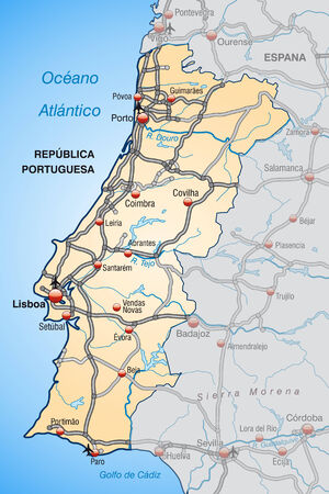 geographically: Map of Portugal with highways in pastel orange