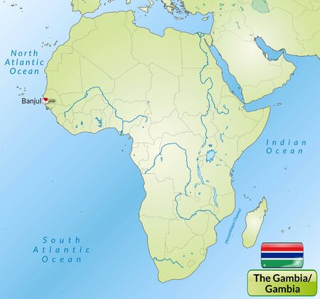 Map of Gambia with main cities in green