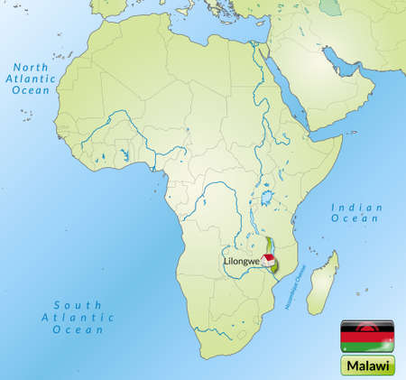 malawi: Map of Malawi with main cities in green