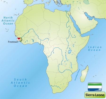 cartographer: Map of sierra leone with main cities in green Illustration