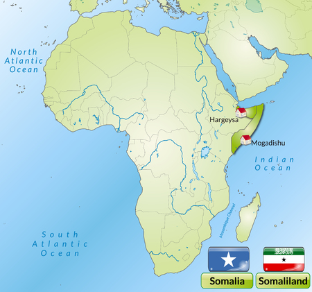 somaliland: Map of Somalia with main cities in green
