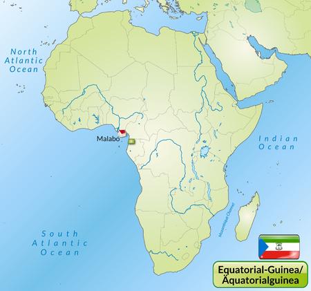 guinea equatoriale: Mappa della Guinea Equatoriale, con le principali citt� in verde Vettoriali