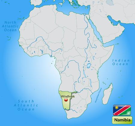 kalahari desert: Map of Namibia with main cities in pastel green Illustration