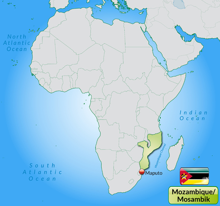 mozambique: Map of mozambique with main cities in pastel green Illustration