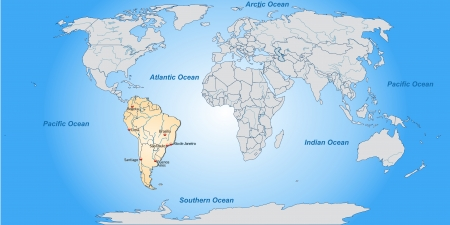 port of spain: Map of South America with main cities in pastel orange