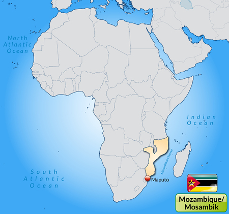 mozambique: Map of Mozambique with main cities in pastel orange Illustration