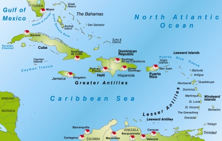 antilles: Map of Antilles as an infographic in green