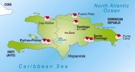 Map of Hispaniola as an infographic in green Vetores