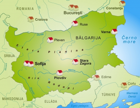 ruse: Map of Bulgaria as an infographic in green