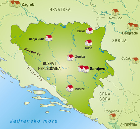 tuzla: Map of Bosnia and Herzegovina as an infographic in green Illustration