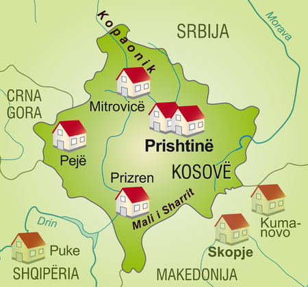 neighboring: Map of Kosovo as an infographic in green Illustration