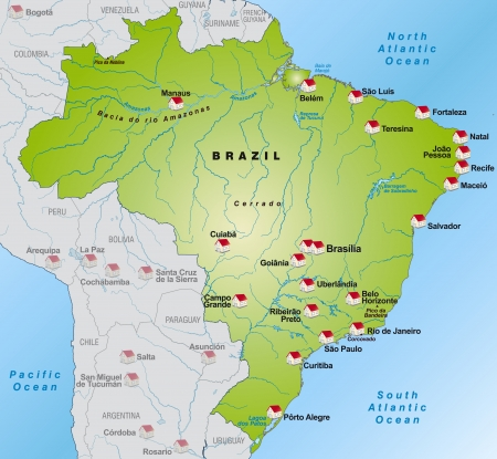 Map of Brazil as an infographic in green Vector