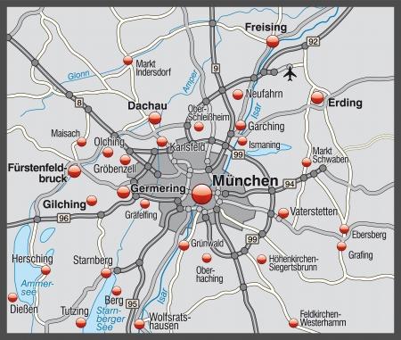 뮌헨: 회색 뮌헨의지도 일러스트