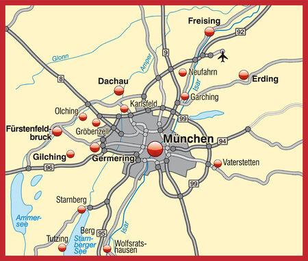 m�nchen: Kaart van München als een overzichtskaart Stock Illustratie