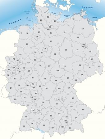 carte allemagne: Carte de l'Allemagne en gris