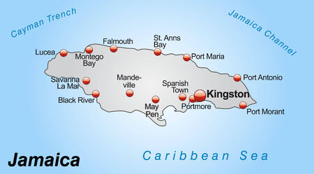 black maria: Map of Jamaica as an overview map in gray