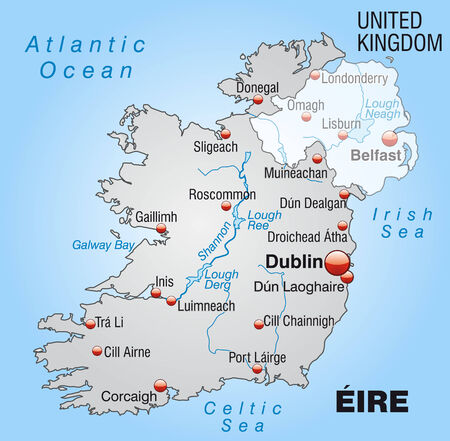 dun: Map of Ireland as an overview map in gray Illustration