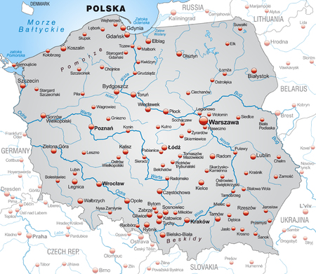 wroclaw: Map of Poland as an overview map in gray Illustration