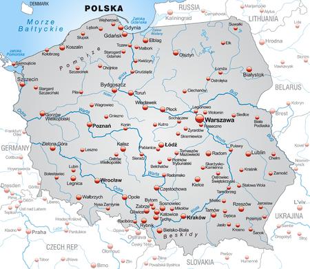 Mapa Polski jako Mapa Informacje na szaro Ilustracje wektorowe