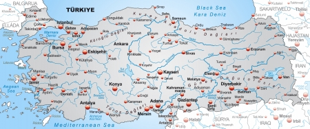 general maps: Map of Turkey as an overview map in gray Illustration