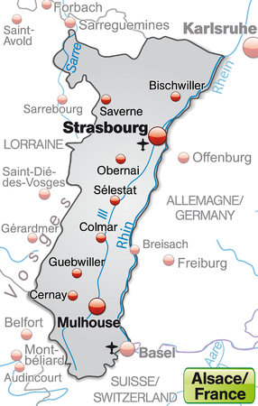 strasbourg: Map of Alsace as an overview map in gray