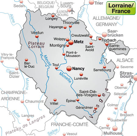 Map of Llorraine as an overview map in gray