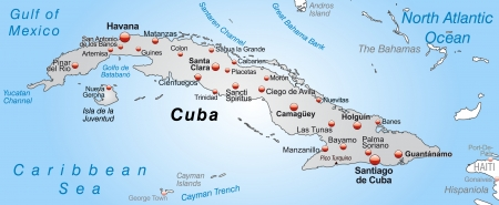 site map: Map of Cuba as an overview map in gray Illustration