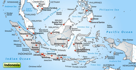 general maps: Map of Indonesia as an overview map in gray