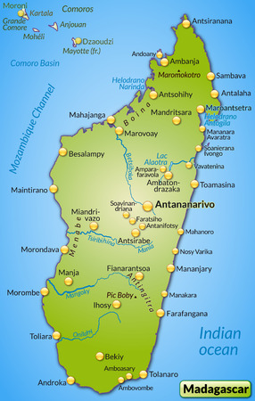 overview: Map of Madagascar as an overview map in green