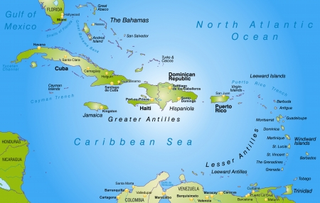 overview: Map of Antilles as an overview map in green