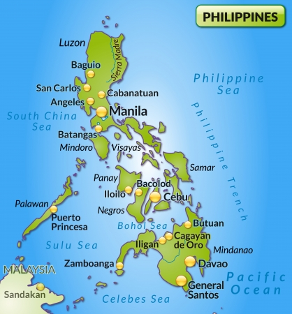 Map of Philippines as an overview map in green