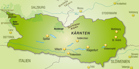 Map of Kaernten as an overview map in green