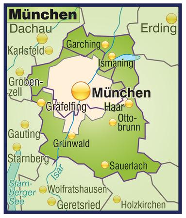 뮌헨: 녹색의 전체지도로 뮌헨의지도 일러스트
