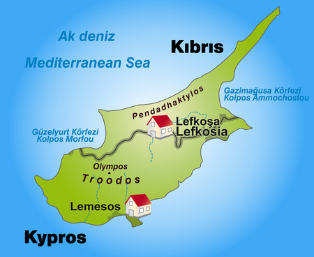 kibris: Map of Cyprus as an infographic in green Illustration