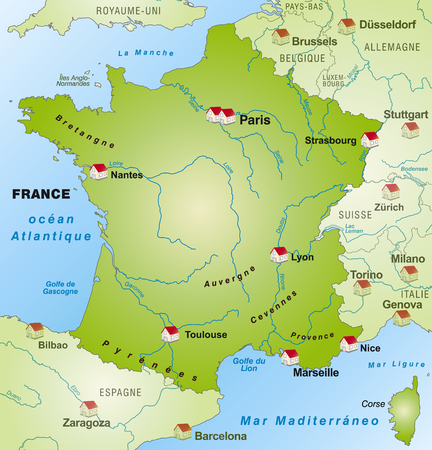 Map of France as an infographic in green