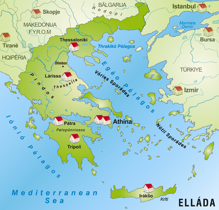 cartographer: Map of Greece as an infographic in green
