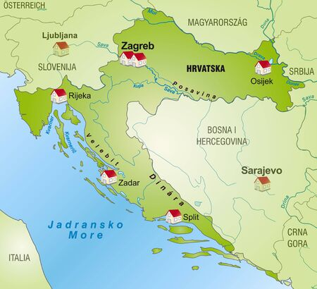Map of Croatia as an infographic in green