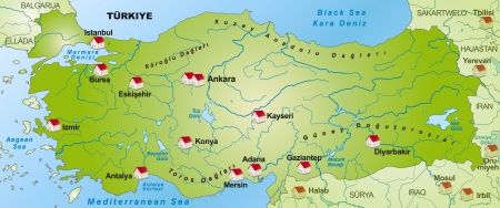 bursa: Map of Turkey as an infographic in green