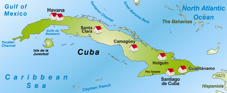 guantanamo: Map of Cuba as an infographic in green Illustration