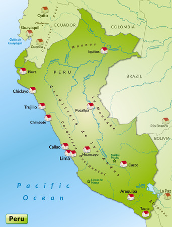 Map of Peru as an infographic in green Vector