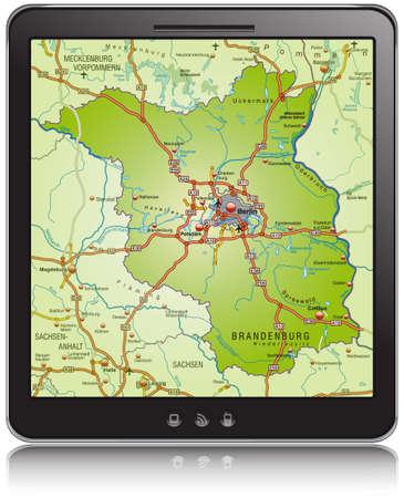 falkensee: Map of Brandenburg as a mobile phone Illustration