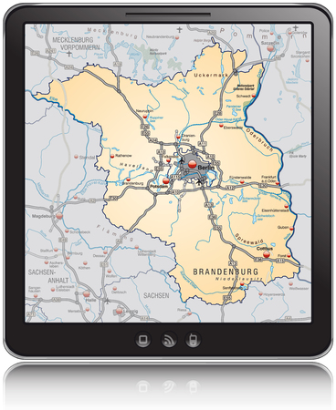 Map of Brandenburg as a mobile phone Vector