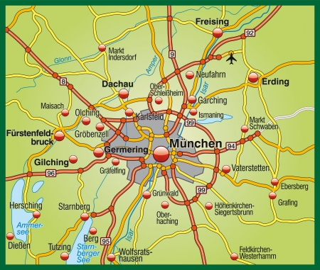 뮌헨: 뮌헨의지도 일러스트