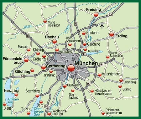 geographically: Map of Munich in pastel green